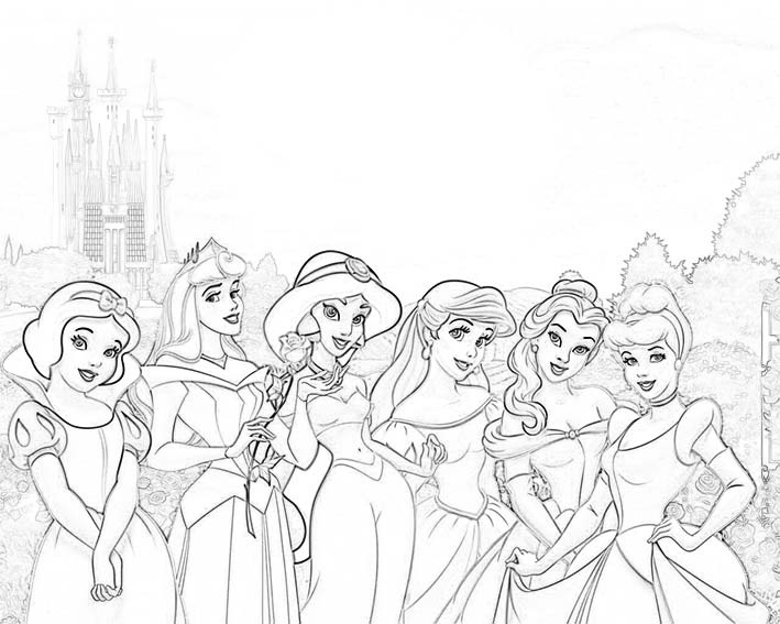 Princesas-Colorea_02 | TusPrincesasDisney.com