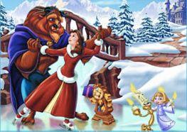 Puzzle Bella y Bestia en Navidad
